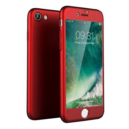 HJ Wireless iPhone 7 Case with Screen Protector - Full Cover Case – 360 Degree Coverage - Tempered Glass Screen Protector X-Trio - Front and Back Protection -