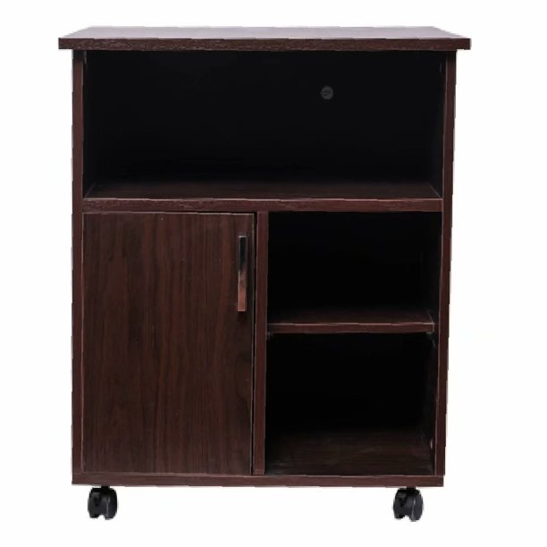 Printer Stand with Door Storage Office Cabinet, Wooden Under Desk Printer Cart Cabinet with Wheels, Brown Color