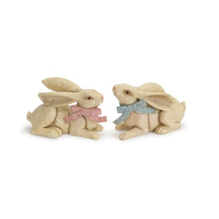 Set of 2 Laying Bunny Rabbits with Long Ears and a Bow 7
