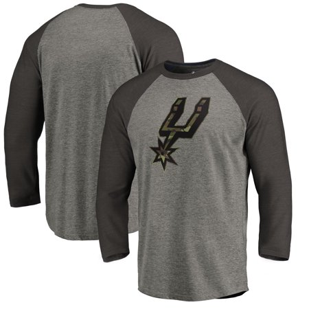 San Antonio Spurs Fanatics Branded Camo Collection Prestige 3/4-Sleeve Raglan T-Shirt - Heathered (Women Looking For Men In San Antonio)