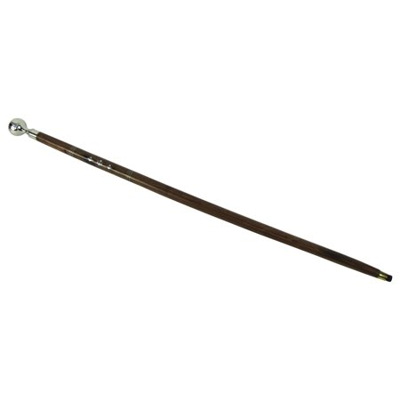 Sturdy Silver Ball Handle Wood Shaft Victorian Cane Walking Stick Wooden Canes