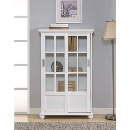Ameriwood home aaron lane bookcase with sliding glass for Multiple sliding glass doors