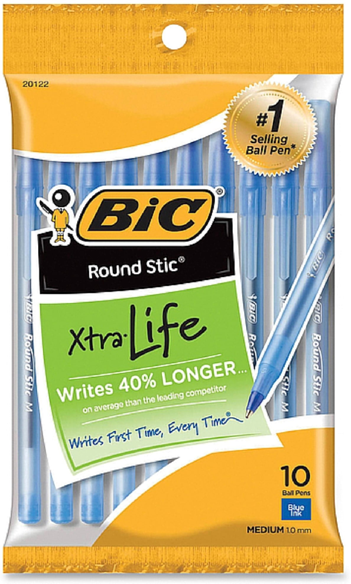 Bic Round Stic Ball Pens Medium Point 10 Pkg-Blue by Bic Corporation