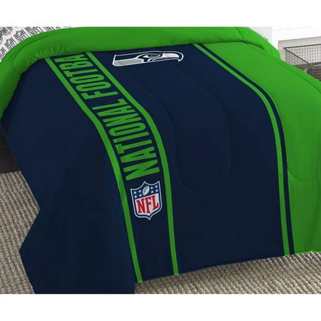 NFL Seattle Seahawks Bed Comforter Set Football Team Logo Silhouette Stripe Bedding by