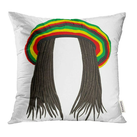 CMFUN Colorful Wig Jamaican Rasta Hat Hair Dreadlocks Reggae Funny Avatar Rastafarian Cap Pillowcase Cushion Cover 16x16 inch](Avatar Wigs)
