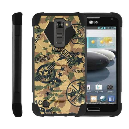 TurtleArmor ® | For LG K8 | LG Escape 3 | LG Phoenix 2 [Dynamic Shell] Dual Layer Hybrid Silicone Hard Shell Kickstand Case - Air Force Camo](Air Kicks)