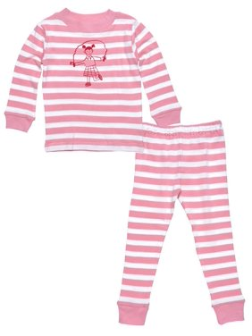 Under the Nile Organic Cotton Kids Long Johns - Pink Stripes 2y