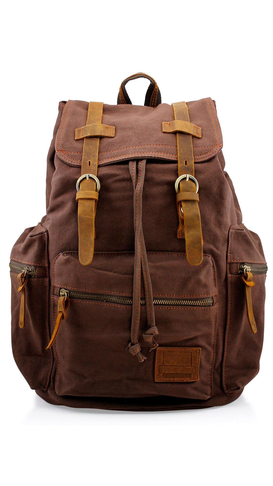 DURABLE MENS LARGE MILITARY CANVAS BACKPACK TRAVEL CAMPING SCHOOL SHOULDER BAG