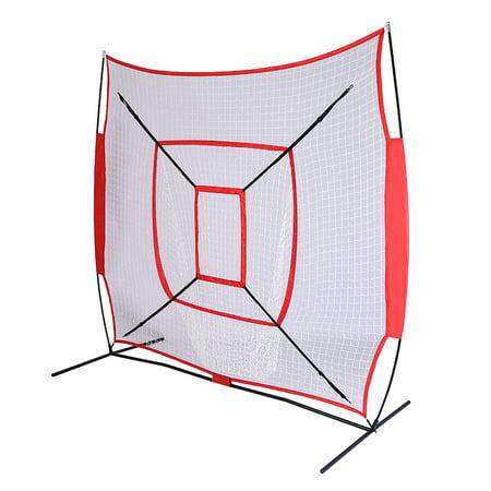 7'*7' Baseball Net for Outdoors, Baseball Softball Net Practic with Single Target Frame, Baseball Nets for Pitching Red Sleevelet, NSWQ716RD ()