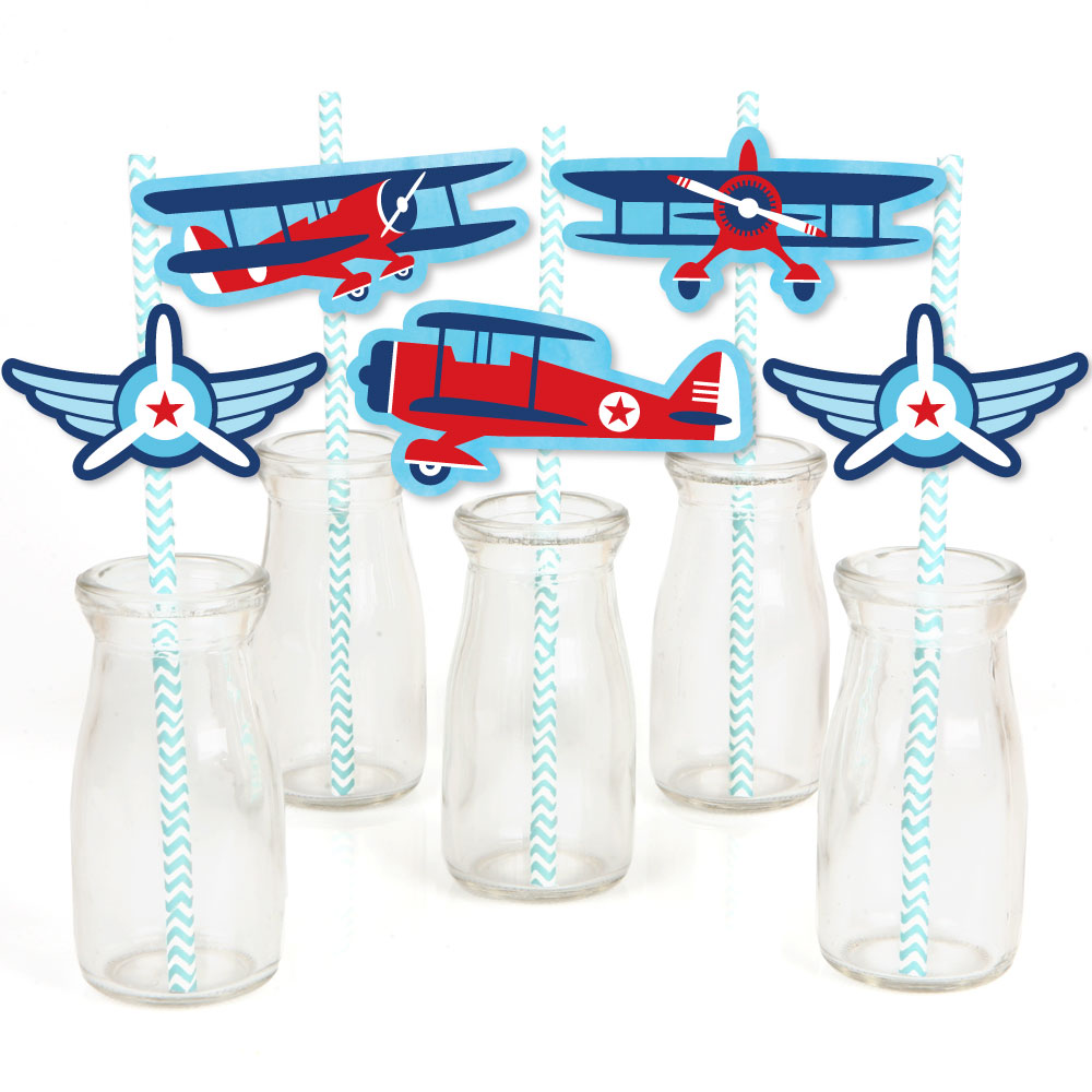 Taking Flight - Airplane - Paper Straw Decor - Vintage Plane Baby Shower or Birthday Party Striped Decorative Straws-24