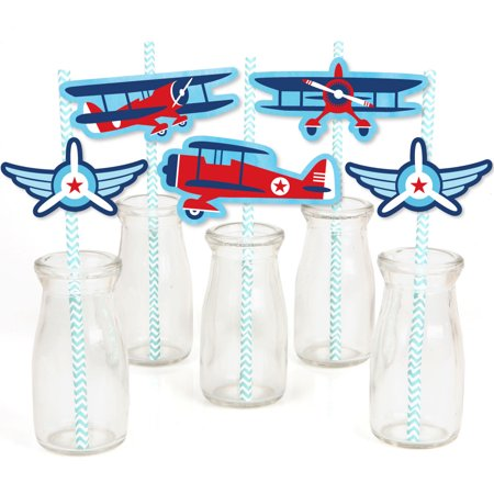 Taking Flight - Airplane - Paper Straw Decor - Vintage Plane Baby Shower or Birthday Party Striped Decorative Straws-24