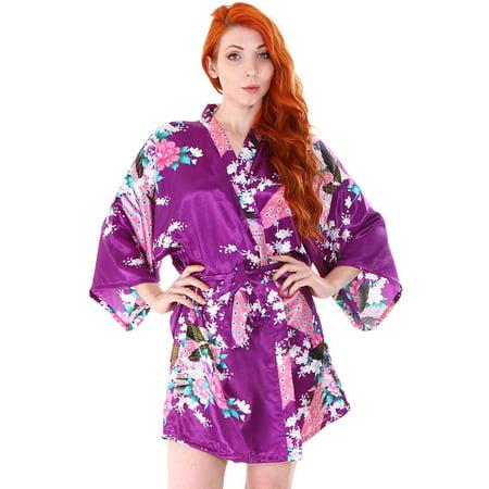 Cherry Blossom Satin (Women's Satin Peacock Cherry Blossom Short Kimono Robe for Wedding Party,Purple)