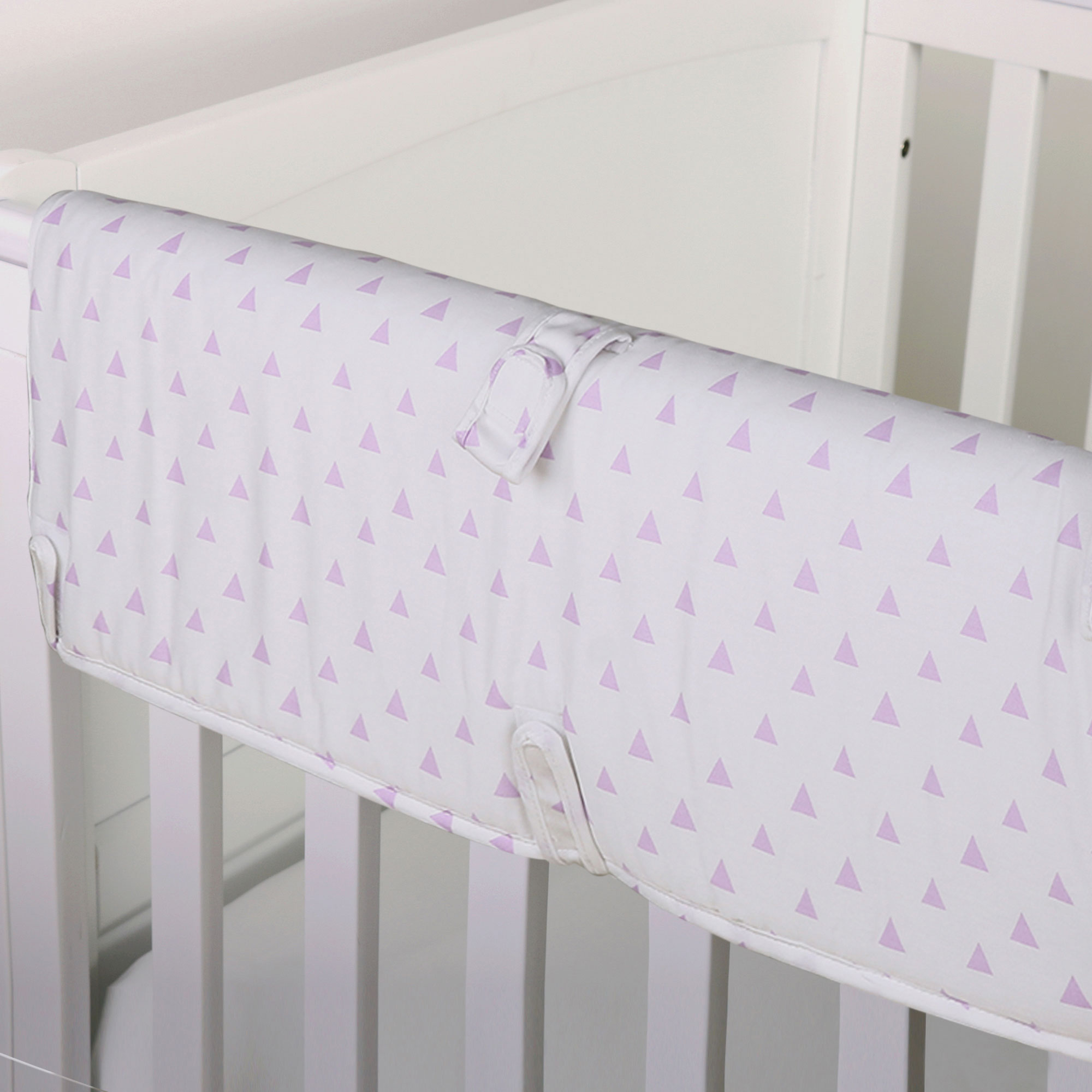 The Peanut Shell Baby Crib Rail Guard - Purple Geometric Triangle Print - 100% Cotton Sateen Cover, Polyester Fill