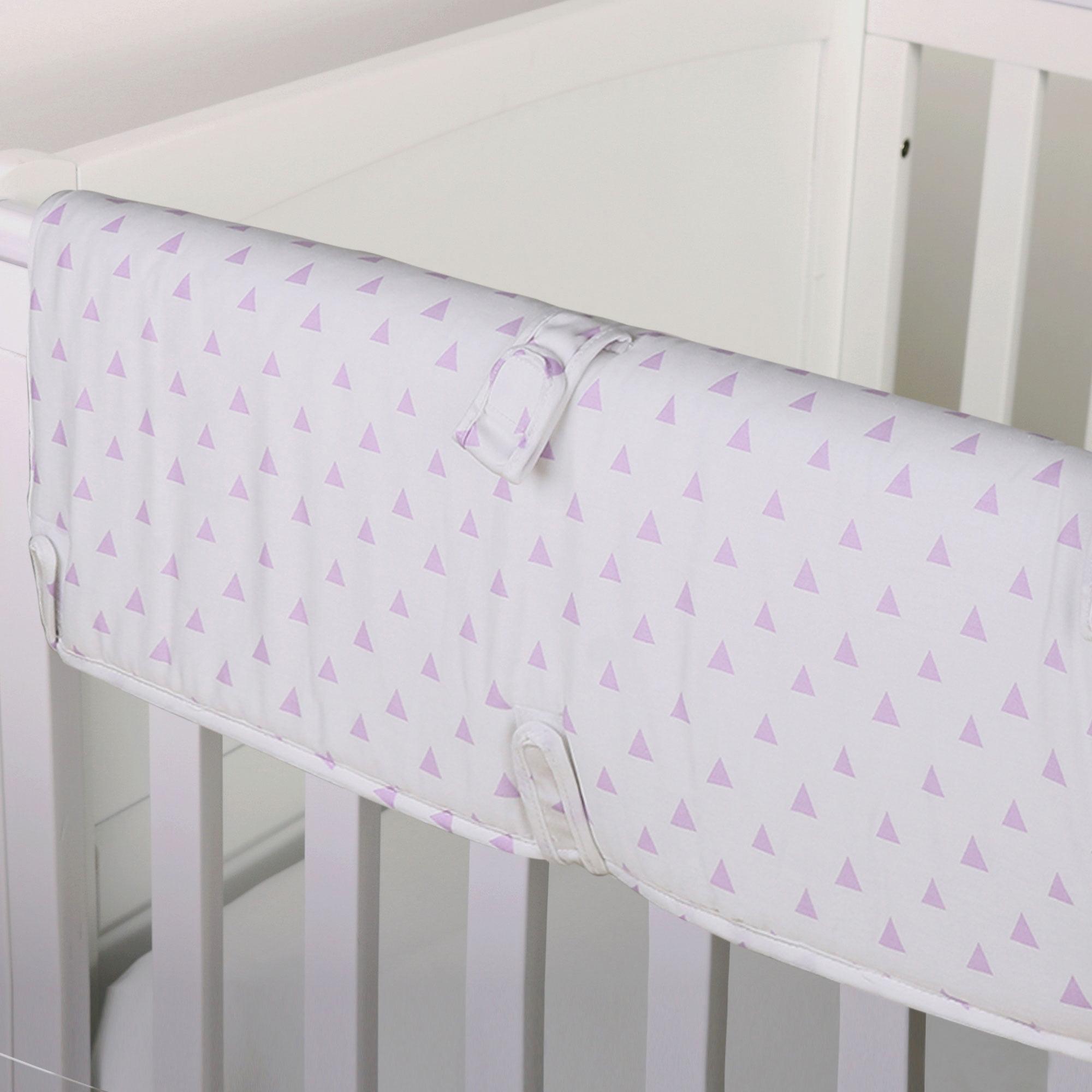 The Peanut Shell Baby Crib Rail Guard - Purple Geometric Triangle Print - 100% Cotton Sateen Cover, Polyester Fill