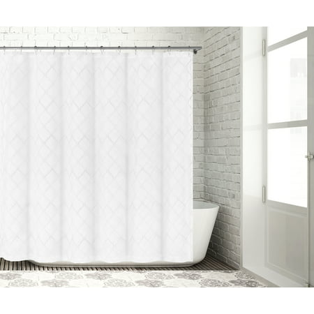 Bathroom And More Collection SHEER White Fabric Shower Curtain With Embroidered Metallic Silver Moroccan Trellis Design 72 L