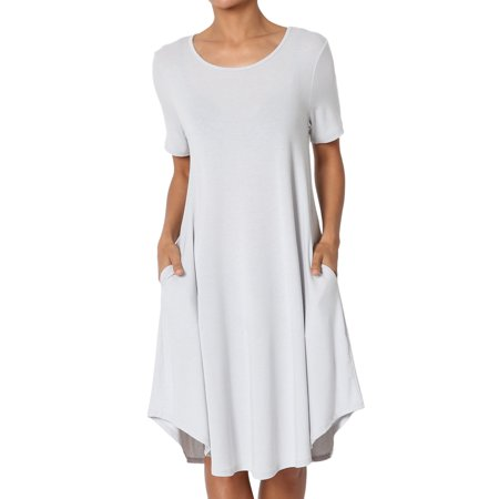Sixties Knitted Dress (TheMogan Women's S~3X Short Sleeve Draped Jersey Knit Pocket A-Line T-Shirt)