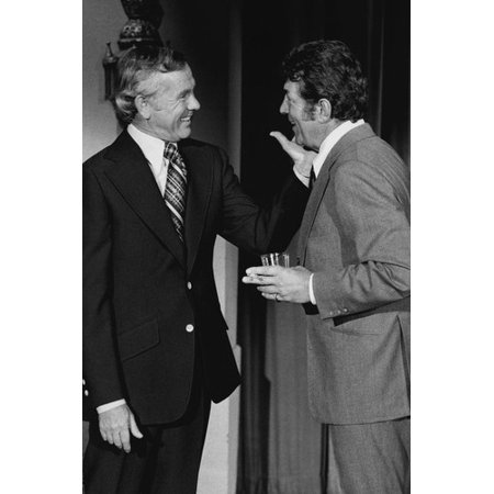 Dean Martin holding drink with Johnny Carson from 1973 appearance on his show 24x36