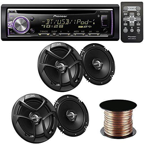 "Pioneer DEH-X6800BT Single DIN Bluetooth In-Dash CD/AM/FM Receiver 4 JVC CSJ620 Car Speakers 300W 6.5"" CS Series 2-Way Coaxial - 50 Feet Speaker 16g"