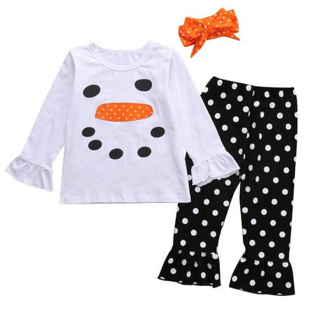 Kids Little Girls Christmas Outfit Long Sleeve Snowman Top Shirt and Polka Dot Ruffle Leggings - Snowman Outfit