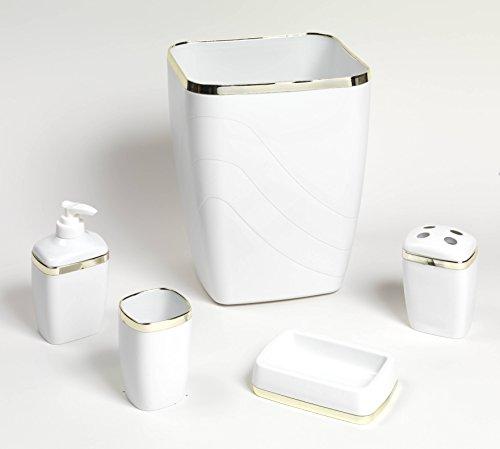 Royal Bath 5-Piece Plastic Bath Accessory Set (White Gold) by