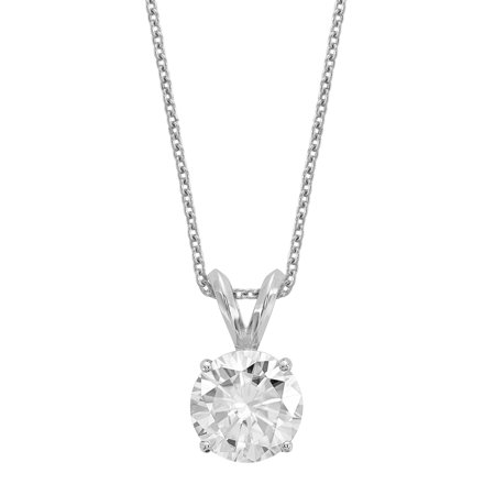 Radiant Fire® Certified Lab Grown 1 Ct Round Diamond Solitaire Necklace, SI1/SI2 clarity, G H I color, in 14K White Gold