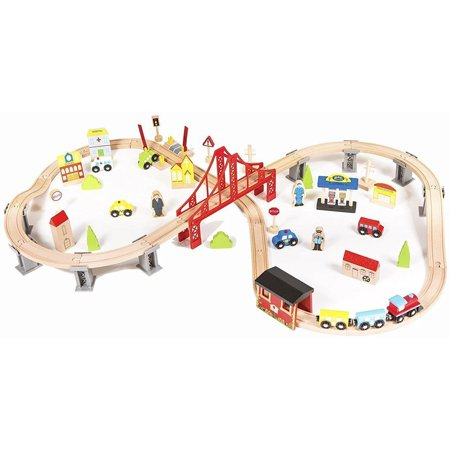 Ktaxon 70pcs Wooden Train Set Learning Toy Kids Children Fun Road Crossing Wood Track Railway Toy Play Set