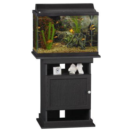 Bundle & Save! Tetra 20 Gallon Complete Glass Aquarium Tank Kit, with  filter, heater, LED light and plants + Ameriwood Home Flipper 10/20 Gallon Aquarium Stand, Black Oak