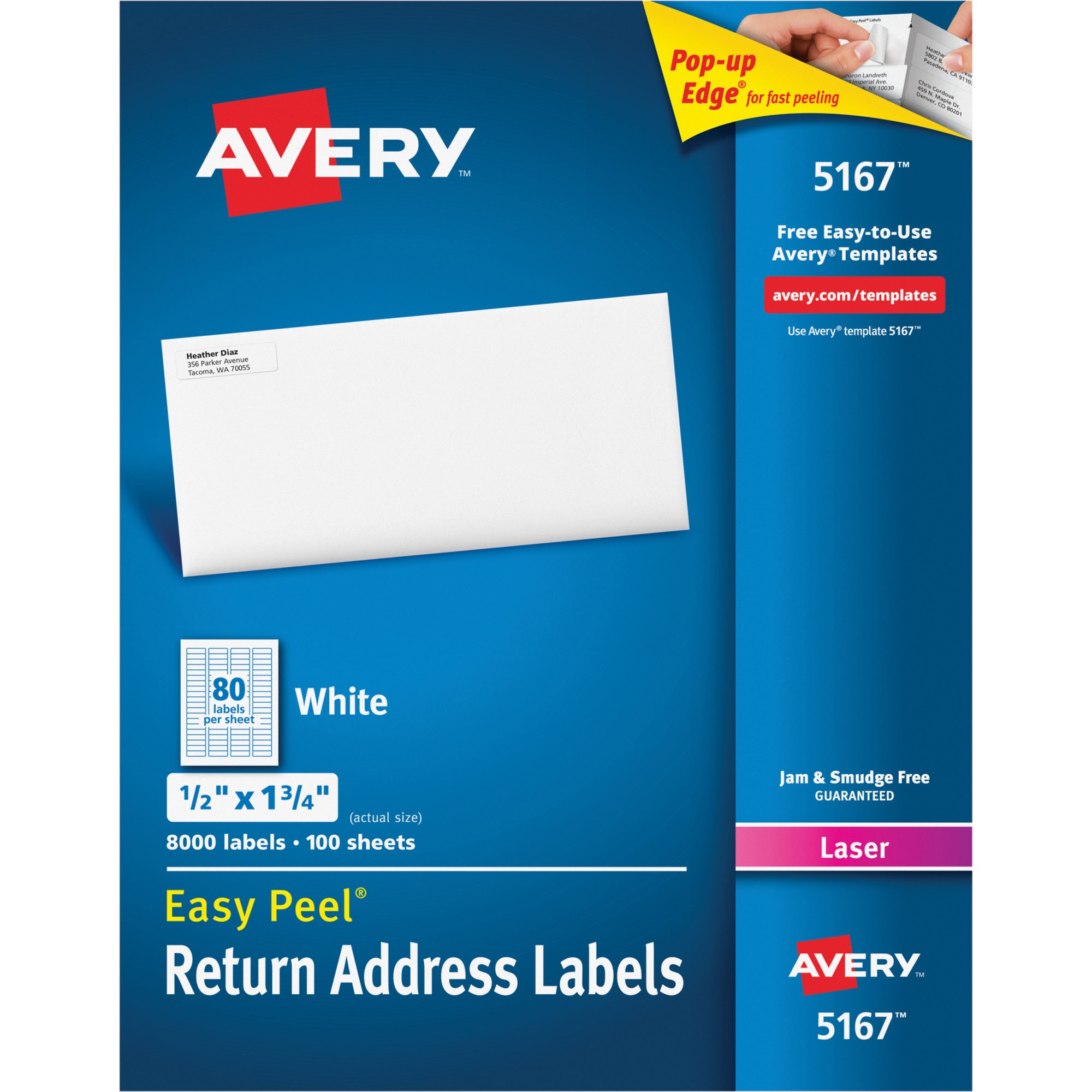 Avery Easy Peel Return Address Labels, Laser, 1 2 x 1 3 4, White, 8000 Box by Avery