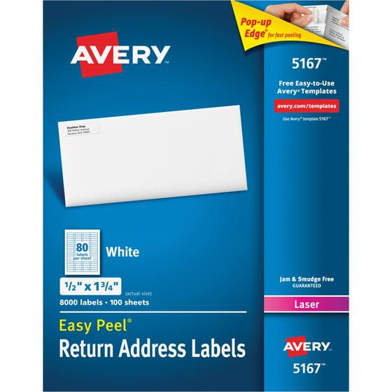 Avery Easy L Return Address Labels Laser 1 2 X 3 4 White 8000 Box
