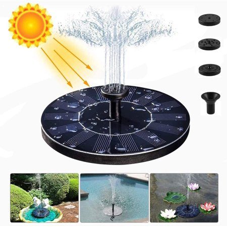 Solar Fountain, Free Standing Solar Water Pumps with 4 Different Spray Pattern Heads for Garden, Pond, Pool, Fish Tank