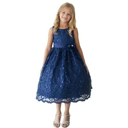 Navy Flower Girl Dress (Little Girls Navy Sparkle Sequin Lace Overlay Elegant Flower Girl)