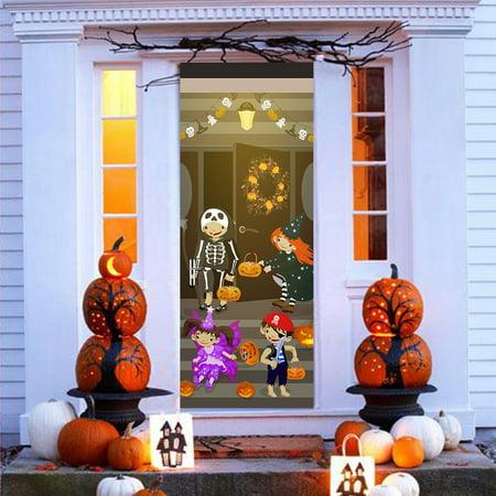 Cute Happy Halloween Wallpaper (Tuscom Happy Halloween 3D Door Wallpaper Murals Wall Stickers Self-Adhesive Removable Art Door Decals DIY Home Decor Poster)