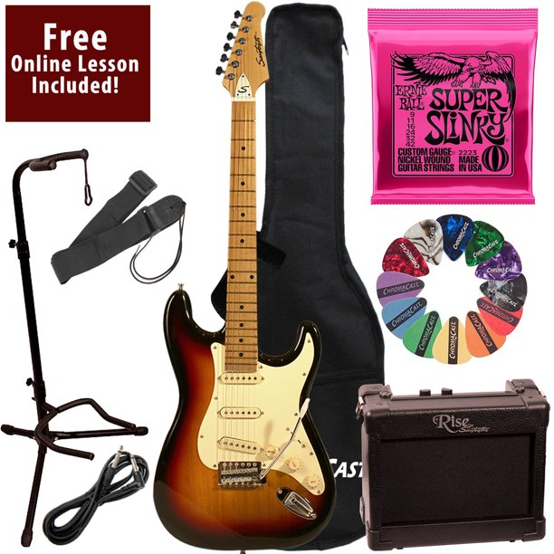 Learn To Play Sawtooth Vintage Sunburst Electric Guitar with Amp, Ernie Ball Strings, and Chromacast Stand, Picks, Cable, Strap, Case, and Free Online Lesson
