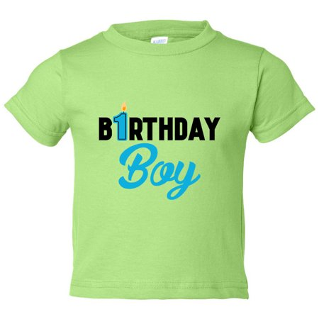 Boys 1 Year Old Birthday Boy Toddler Shirt Candle Funny Threadz Kids Green 3T Toddlers