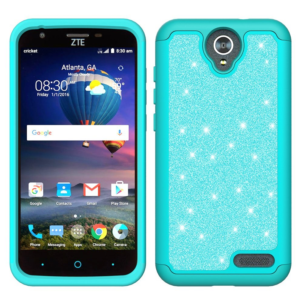 ZTE ZMAX Grand, ZTE Champ, ZTE Avid 916, ZTE Grand X 3 Case, Glitter Bling Hybrid Case with [HD Screen Protector] Dual Layer Protective Phone Case Cover for ZTE ZMAX Grand/Champ - Mint - image 4 de 5