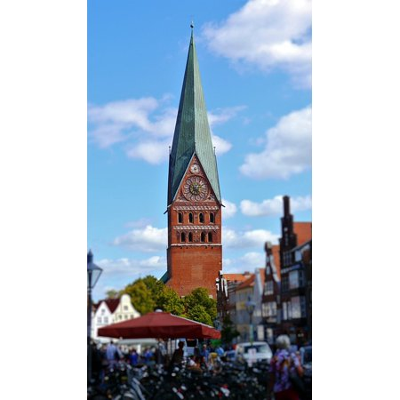 (Canvas Print Building House Of Worship Steeple Church Lüneburg Stretched Canvas 10 x 14)