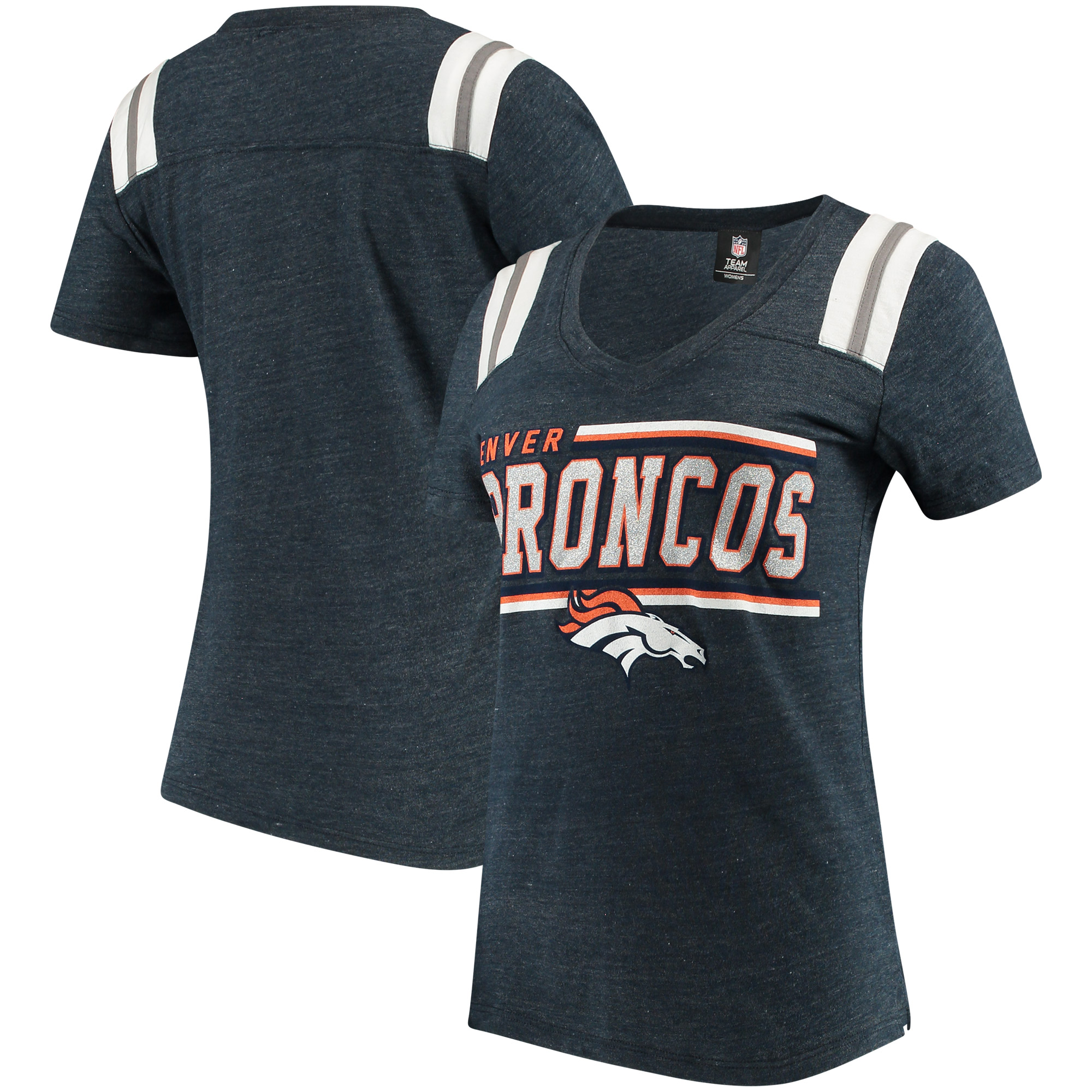 Denver Broncos 5th & Ocean by New Era Women's Wordmark Tri-Blend V-Neck T-Shirt - Navy