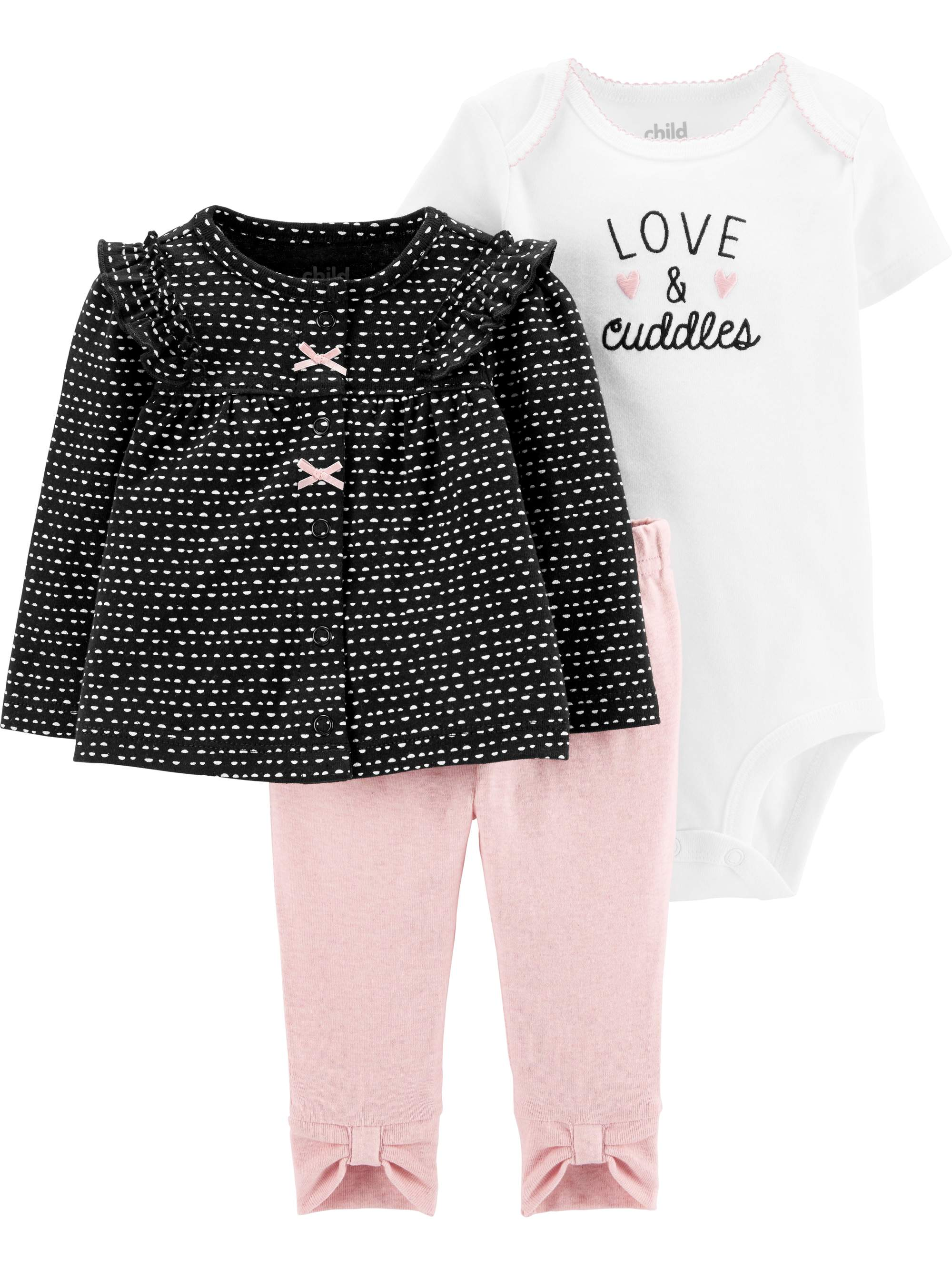 Child Of Mine By Carter's Baby Girl Cardigan Jacket, Short Sleeve Bodysuit & Bow Leggings, 3pc Outfit Set