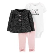 Child Of Mine By Carter's Short Sleeve Bodysuit, Long Sleeve Shirt & Pants, 3pc Outfit Set (Baby Girls)