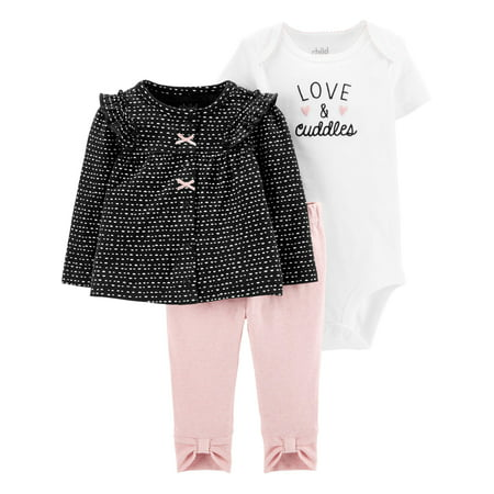 Child Of Mine By Carter's Baby Girl Cardigan Jacket, Short Sleeve Bodysuit & Bow Leggings, 3pc Outfit