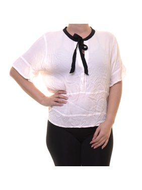 ce01b8b94228 Product Image GUESS Women's Tie Neck Scuffy Casual Blouse Size L