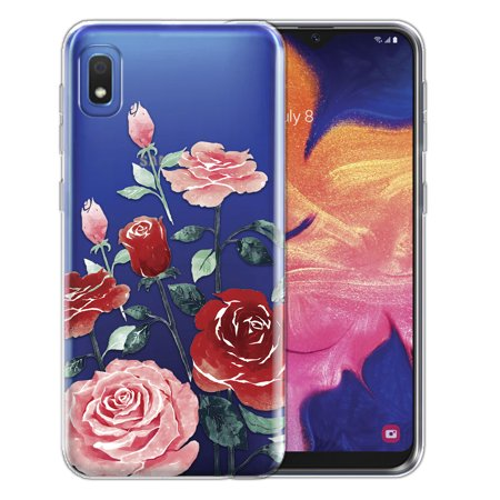 "FINCIBO Soft TPU Clear Case Slim Protective Cover for Samsung Galaxy A10e A102U 5.83"" 2019, Roses Flowers"