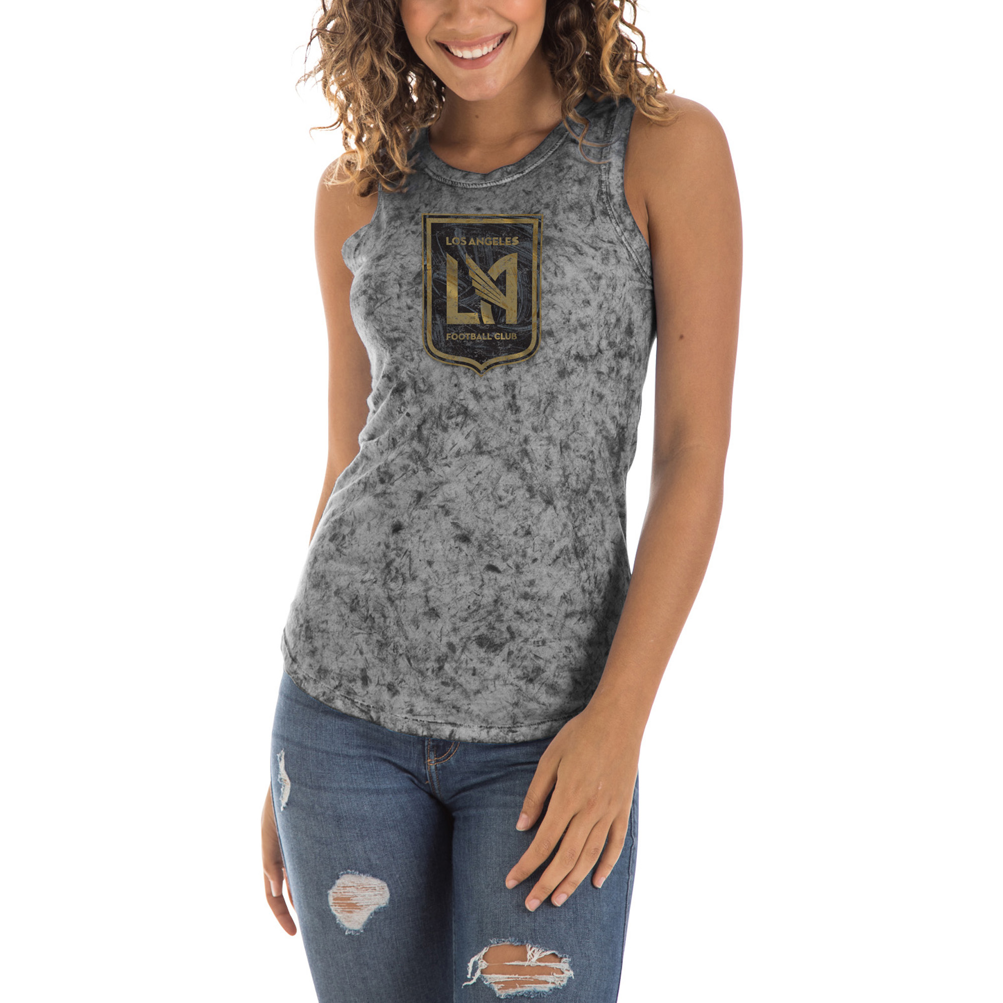 LAFC 5th & Ocean by New Era Women's Washes Mineral Dye Jersey Tank Top - Black