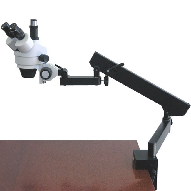AmScope 7X-45X Trinocular Articulating Zoom Microscope with Clamp New by Overstock