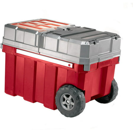 Keter Plastic Masterloader Rolling Tool Box, Resin Organizer with Retractable Handle - Chest Box