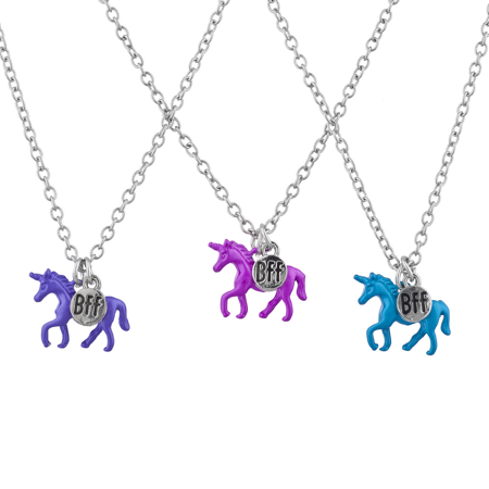Lux Accessories Silver Tone Blue Purple Pink Unicorn BFF Best Friends Necklaces - Unicorn Necklace