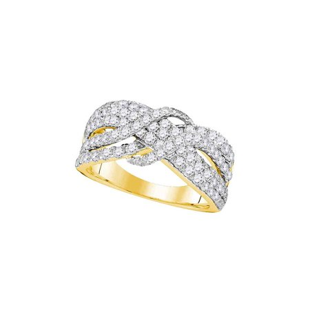 14kt Yellow Gold Womens Round Pave-set Diamond Crossover Strand Band 1-1/2 Cttw - image 1 of 1
