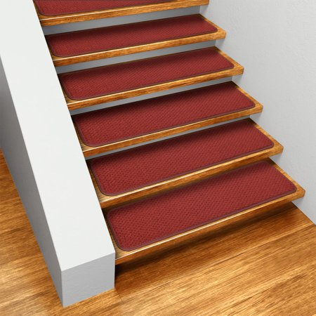 Set of 12 Skid-resistant Carpet Stair Treads - Brick Red - 8 In. X 23.5 In. - Several Other Sizes to Choose From