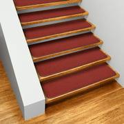 Set Of 12 Skid Resistant Carpet Stair Treads Brick Red 8 In