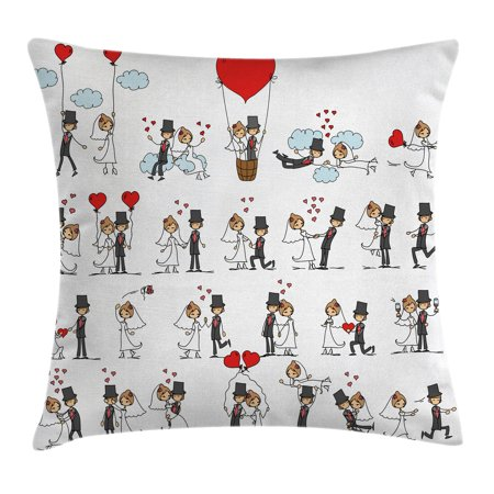 Couple Themes (Wedding Decorations Throw Pillow Cushion Cover, Cartoon Style Couple on Clouds with Hearts Cute Love Themed, Decorative Square Accent Pillow Case, 16 X 16 Inches, Red Mint Green Grey, by)